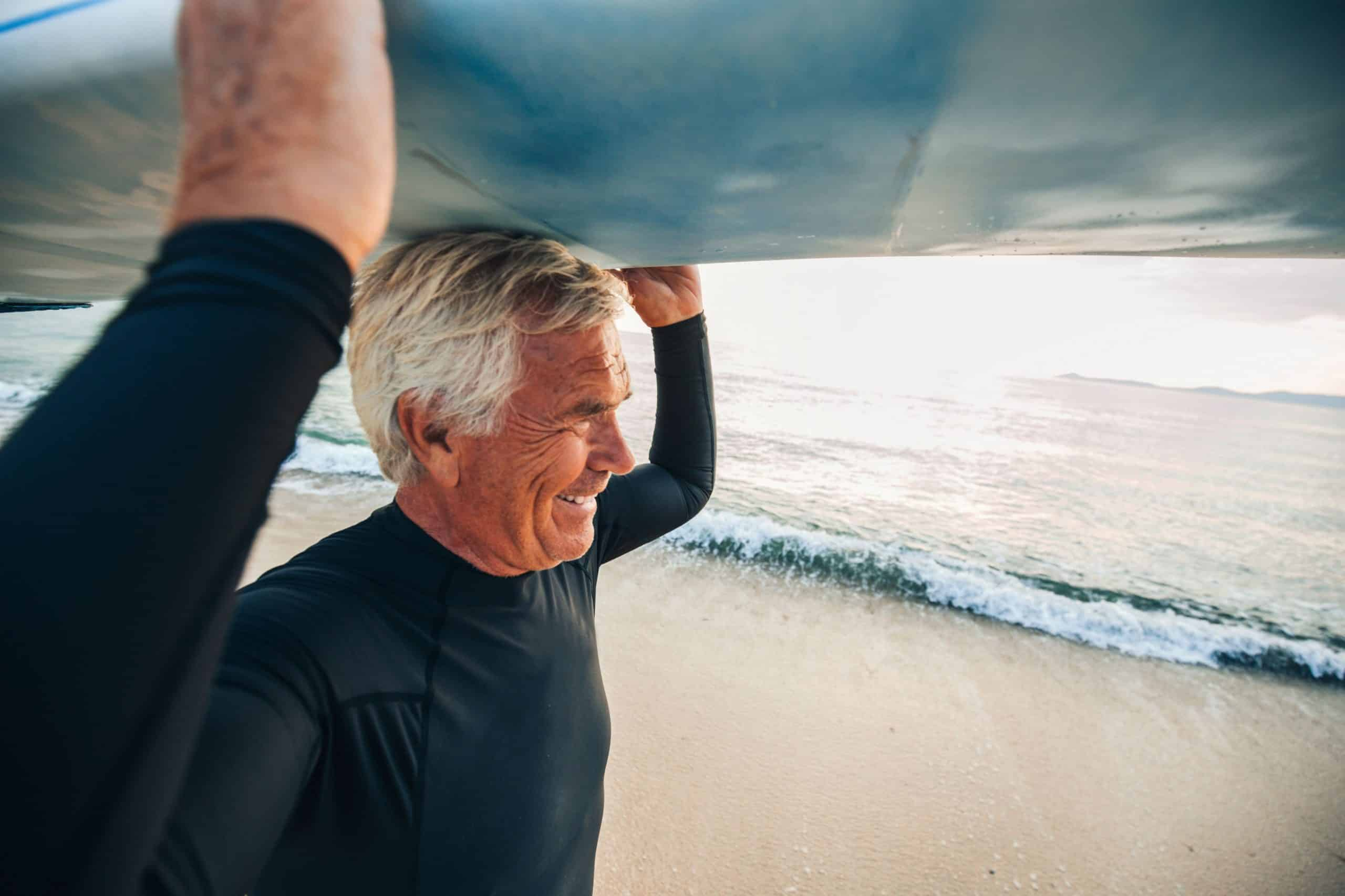Retired Man Surfing