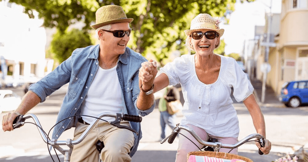 Retired Couple Riding Bicycles
